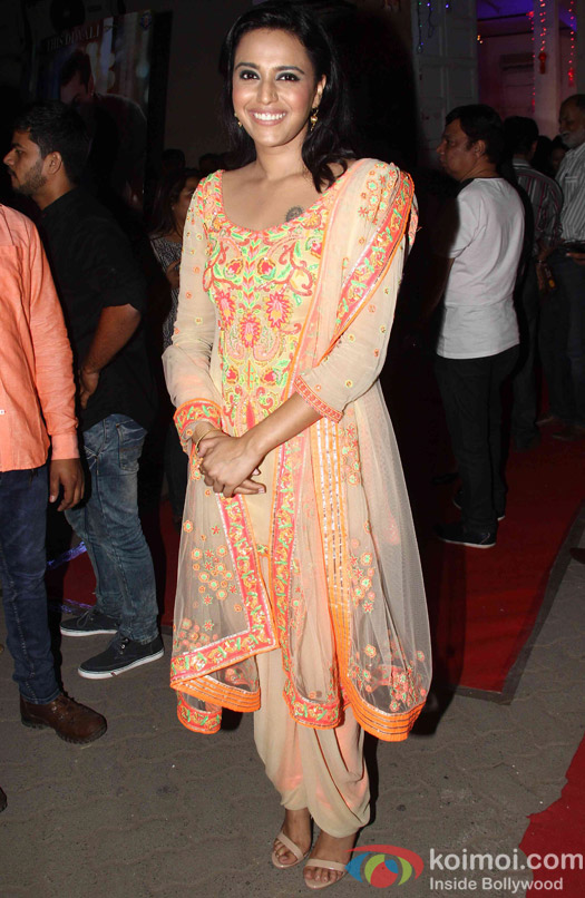 Swara Bhaskar during the promotion of film Prem Ratan Dhan Payo