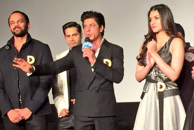 Rohit Shetty, Varun Dhawan, Shah Rukh Khan and Kriti Sanon during the promotion of movie Dilwale