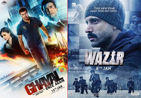 Ghayal Once Again and Wazir movie posters