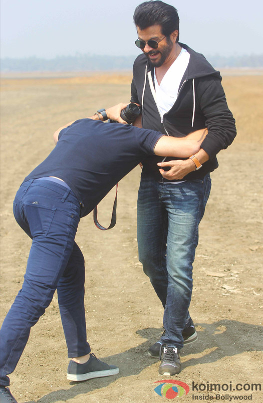 Anil Kapoor and Howard Gordon during the on location shoot of TV serial '24' season 2