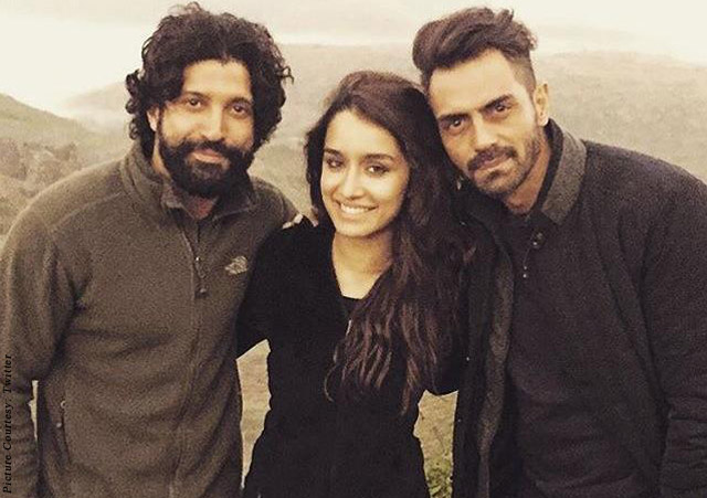 Farhan Akhtar, Shraddha Kapoor and Arjun Rampal on the sets of movie 'Rock On 2'