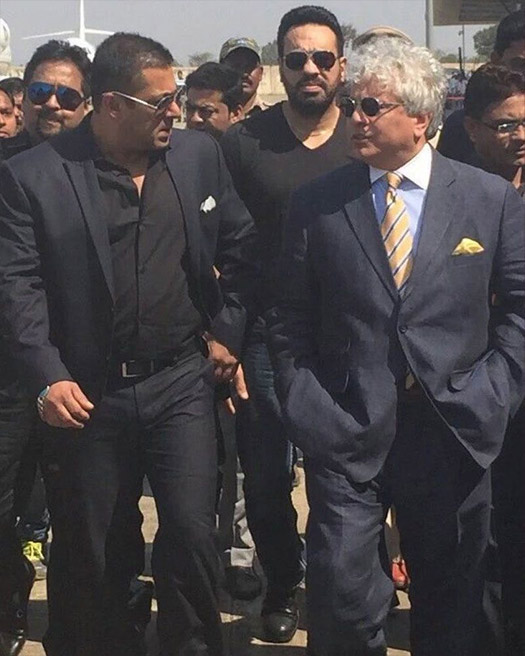 Salman Khan and Suhel Seth during a visit in Gondia