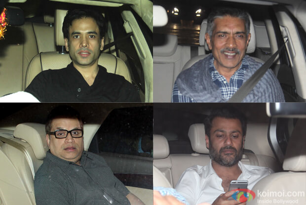 Tushar Kapoor, Ramesh Taurani, Prakash Jha, abhishekh Bachchan during The Screening of film Fitoor