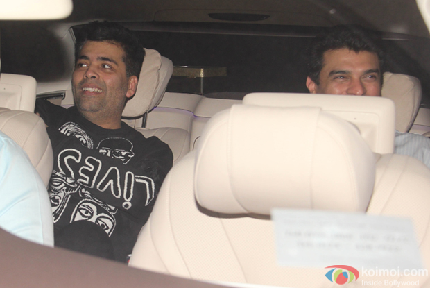 Karan johar and Siddharth Roy kapur during The Screening of film Fitoor