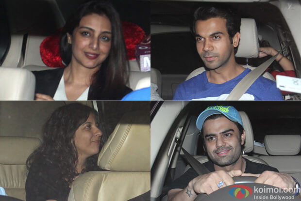 Tabu, Rajkumar Rao, Zoya Akhtar and Manish Paul during The Screening of film Fitoor