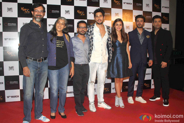 Sidharth Malhotra, Alia Bhatt, Fawad Khan and karan Johar during the trailer launch of film Kapoor and Sons