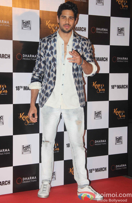 Sidharth Malhotra during the trailer launch of film Kapoor and Sons