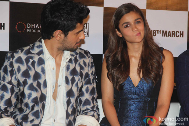 Sidharth Malhotra And Alia Bhatt during the trailer launch of film Kapoor and Sons