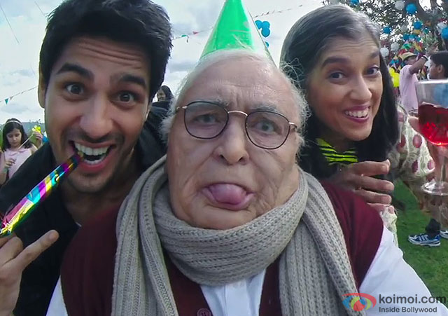 Sidharth Malhotra, Rishi Kapoor and Ratna Pathak Shah in a still from movie 'Kapoor And Sons'