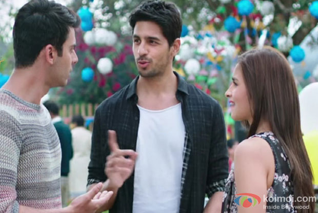 Fawad Khan, Sidharth Malhotra and Alia Bhatt in a still from movie 'Kapoor And Sons'