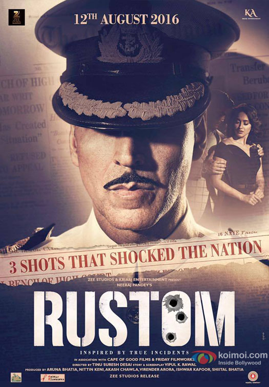 Akshay Kumar, Esha Gupta and Ileana DCruz starrer 'Rustom' Movie Poster 1
