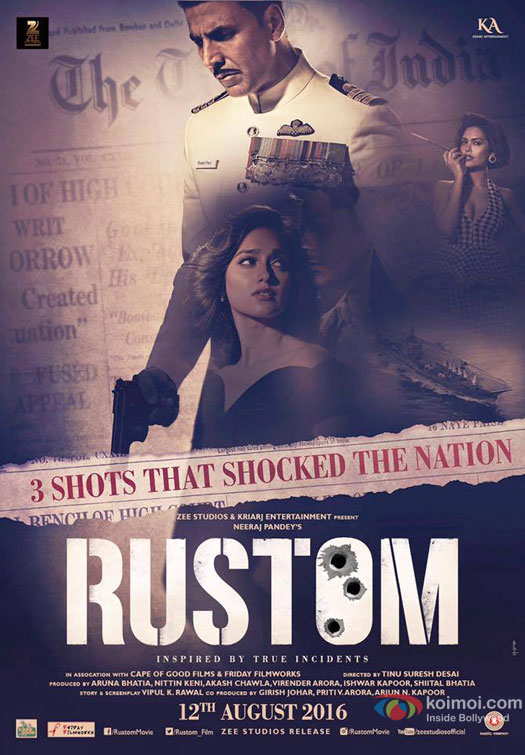 Akshay Kumar, Esha Gupta and Ileana DCruz starrer 'Rustom' Movie Poster 2