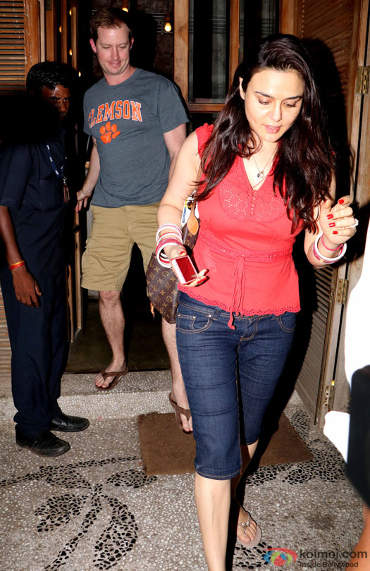 Preity Zinta With Husband Gene Goodenough Spotted At A Restaurant In Bandra