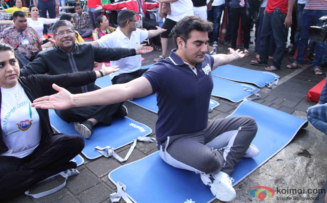 Shaina NC and Arbaaz Khan during the International Yoga day