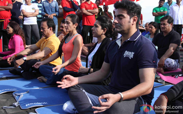Tara Sharma, Shaina NC and Arbaaz Khan during the International Yoga day