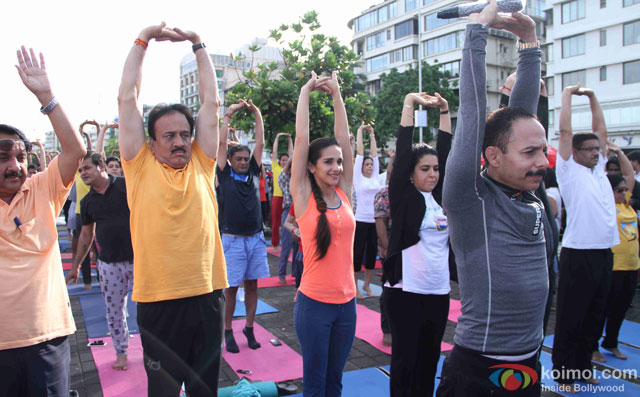 Tara Sharma, Shaina NC and Mickey Mehta during the International Yoga day