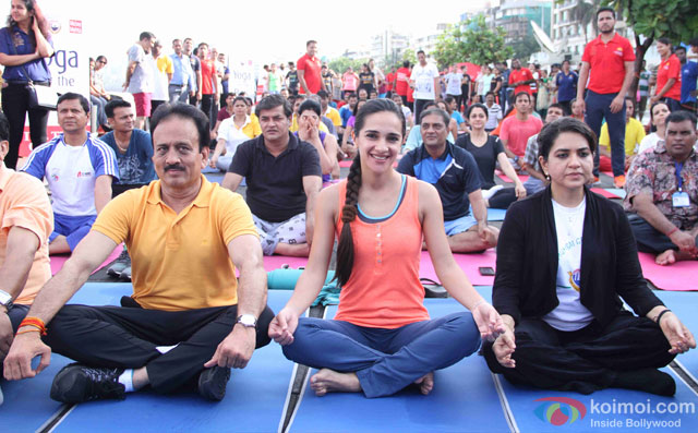 Tara Sharma and Shaina NC during the International Yoga day