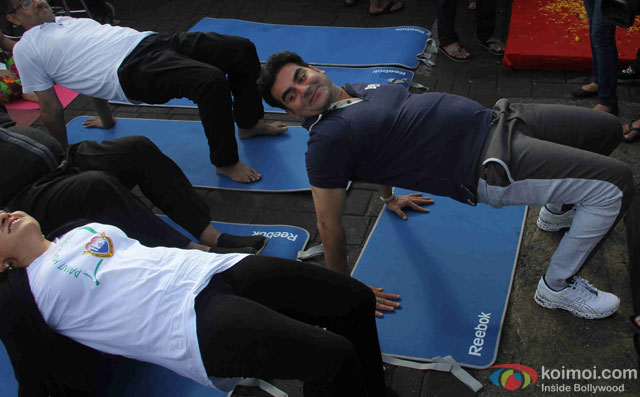 Arbaaz Khan during the International Yoga day