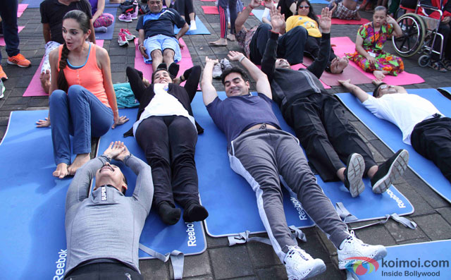 Tara Sharma, Mickey Mehta, Shaina NC and Arbaaz Khan during the International Yoga day