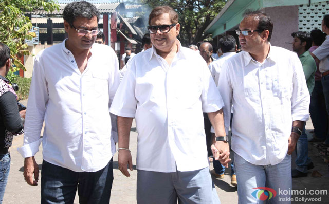 David Dhawan during the Funeral of Trade Analyst Vikas Mohan