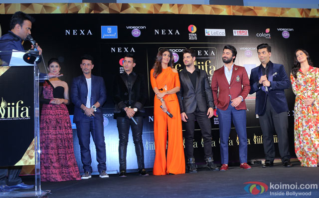 Siddharth Kannan, Mouni Roy, Meet Bros, Shilpa Shetty, Sooraj Pancholi, Fawad Khan, Karan Johar and Elli Avram during the 'IIFA 2016 Opening Press Conference'