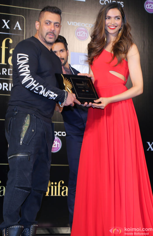Salman Khan and Deepika Padukone during the 'IIFA 2016 Opening Press Conference'