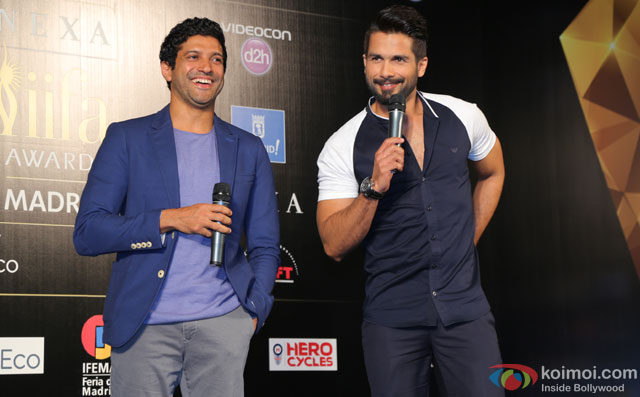 Farhan Akhtar and Shahid Kapoor during the 'IIFA 2016 Opening Press Conference'
