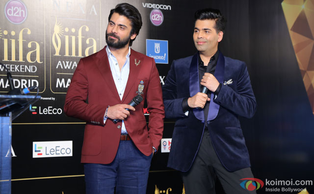 Fawad Khan and Karan Johar during the 'IIFA 2016 Opening Press Conference'