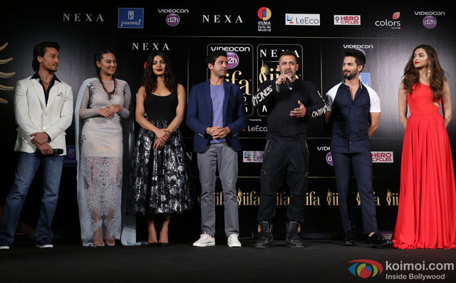 Tiger Shroff, Sonakshi Sinha, Priyanka Chopra, Farhan Akhtar,  Salman Khan, Shahid Kapoor and Deepika Padukone during the 'IIFA 2016 Opening Press Conference'