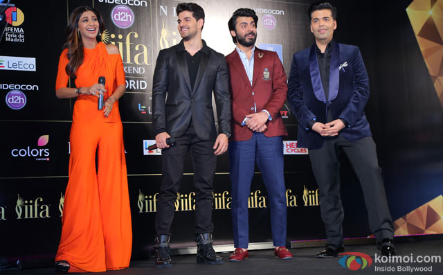 Shilpa Shetty, Sooraj Pancholi, Fawad Khan and Karan Johar during the 'IIFA 2016 Opening Press Conference'