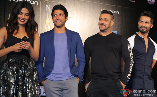 Priyanka Chopra, Farhan Akhtar, Salman Khan and Shahid Kapoor during the 'IIFA 2016 Opening Press Conference'