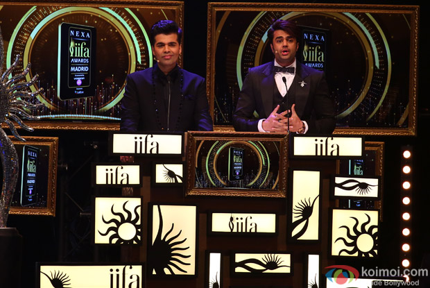 Karan Johar and Manish Paul at IIFA Rocks 2016