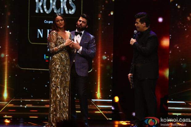 Sonakshi Sinha, Fawad Khand and Karan Johar at IIFA Rocks 2016