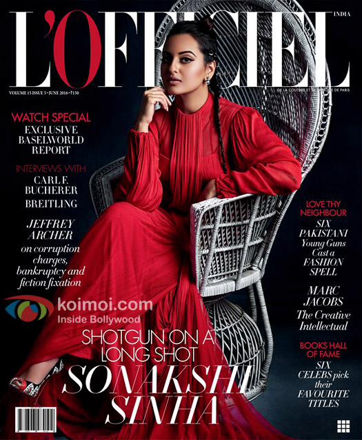 Sonakshi Sinha's Red Glamour On L'Officiel India Magazine Cover