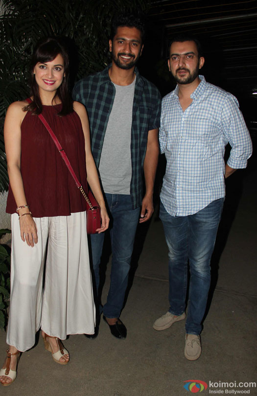 Dia Mirza and Sahil Sangha during the special screening of film 'Udta Punjab'