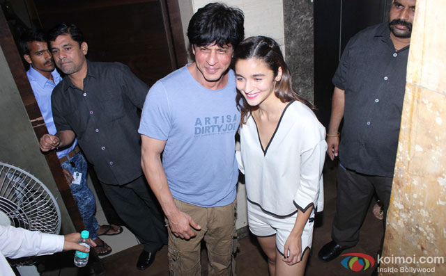 Shah Rukh Khan and Alia Bhatt during the special screening of film 'Udta Punjab'