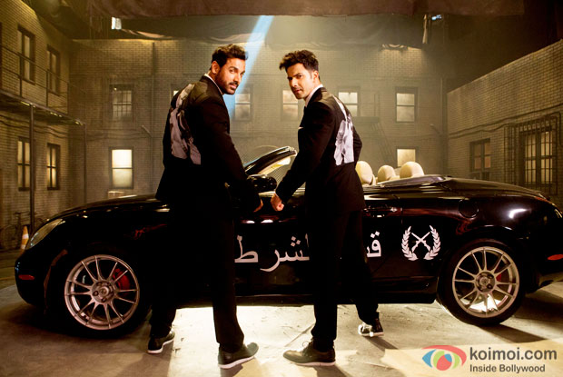 John Abraham and Varun Dhawan in a still from Dishoom's uber cool rap song 'Toh Dishoom'