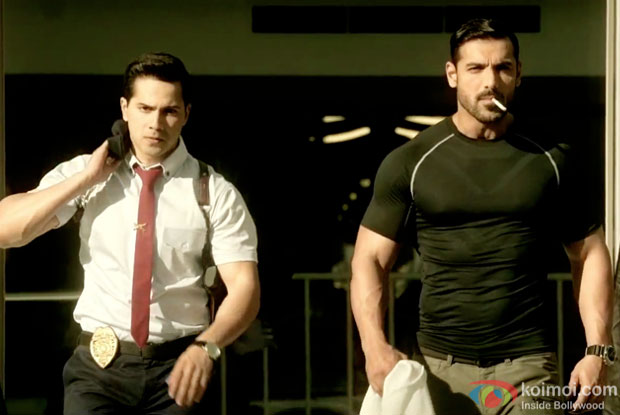 Varun Dhawan and John Abraham in a still from movie 'Dishoom'