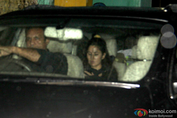 Katrina Kaif was snapped in her car in Bandra.