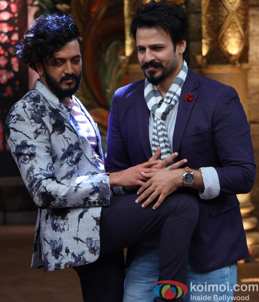 Ritesh Deshmukh and Vivek Oberoi on the sets of Comedy Nights Bachao