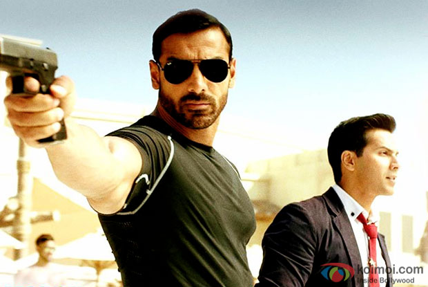 John Abraham and Varun Dhawan in a still from Dishoom