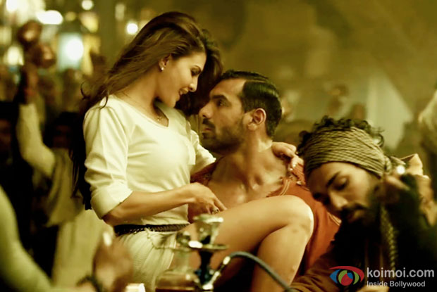 Jacqueline Fernandez and John Abraham in a still from Dishoom
