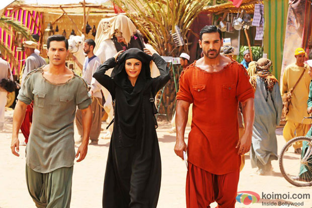 Varun Dhawan, Jacqueline Fernandez and John Abraham in a still from Dishoom