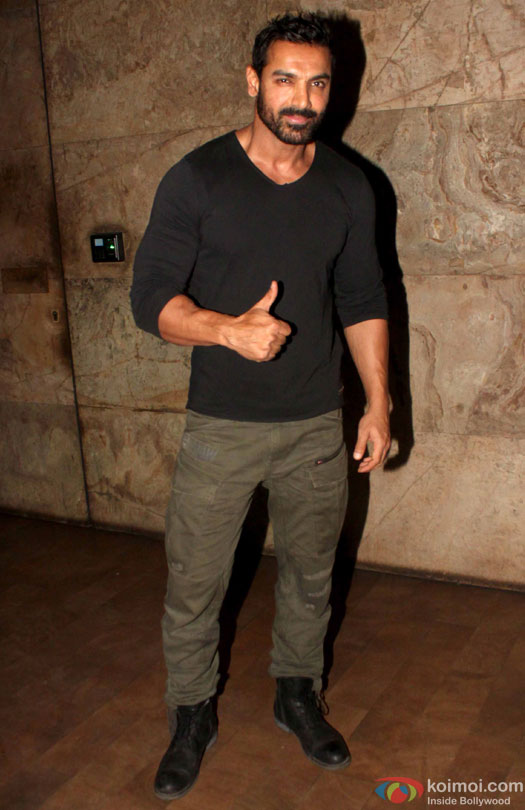 John Abraham spotted at lightbox during the screening of film 'Dishoom'