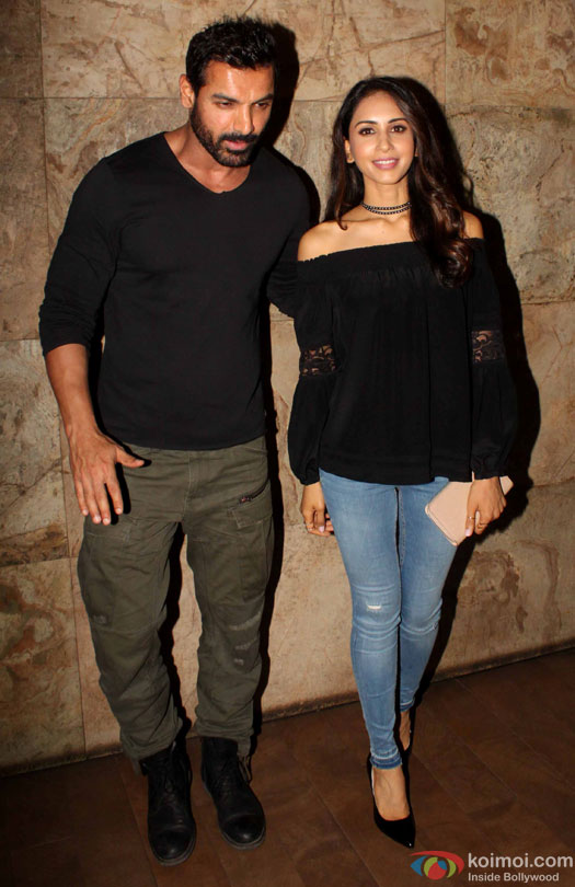 John Abraham with wife Priya Runchal spotted at lightbox during the screening of film 'Dishoom'