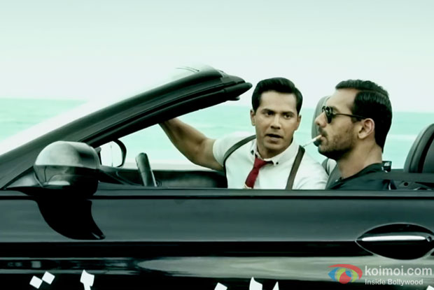 Varun Dhawan and John Abraham in a still from Dishoom