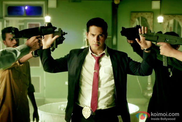Varun Dhawan in a still from Dishoom