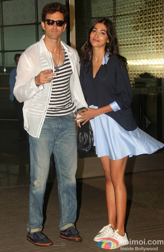Puja Hegde and Hrithik Roshan spotted at mumbai airport