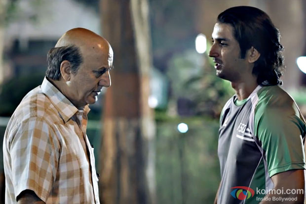 Anupam Kher And Sushant Singh Rajput in a still from M.S. Dhoni - The Untold Story