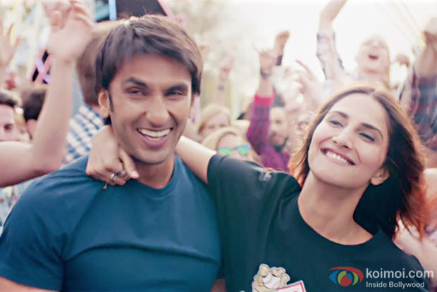 Ranveer Singh and Vaani Kapoor in a Nashe Si Chadh Gayi song still from Befikre